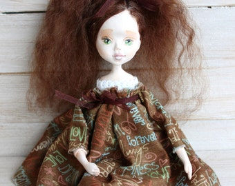 Art clay doll, Collecting doll, sculpted clay doll, OOAK Art Doll, Handmade doll