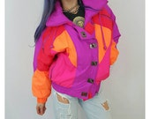 90s Vintage Neon Pink Puffer Jacket - Puffy Ski Coat Small - Hot Pink Orange Womens Cropped Winter Coat - Warm Snow Winter Outerwear