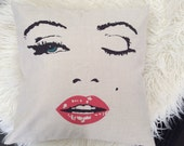 Marilyn Sexy Lips logo print design Inspired pillow case cover  ivory white linen