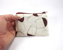 wine zipper pouch, card wallet, clutch, change purse, coin purse, vintner bag, sommelier purse, tips bag, bartender acessory