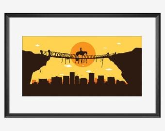 El paso Skyline print, El Paso Texas, El paso art, El paso print, El paso poster, Cowboy art, Cowboy print, Cowboy poster, Cowboy artwork