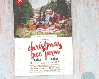 Christmas Mini Session Template - Christmas Tree Farm - Photography Marketing - Photoshop template - IC031 - INSTANT DOWNLOAD