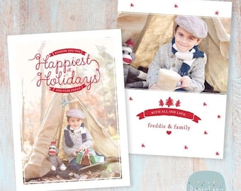 SALE NOW ON Holiday Card Template - Christmas Photoshop template - Ac042 - Instant Download