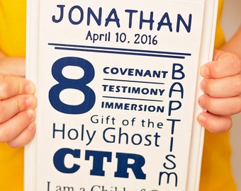 Personalized Wood Baptism Sign - LDS Primary, LDS Baptism, Great to Be 8, Baptism Gift