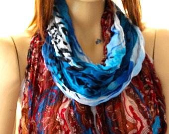 Batik print shawl scarf. Women Scarf, scarves, accessories, wraps, shawl, batik scarves, gift idea, fashion scarves - blue brown scarves