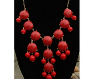 Red bubble statement necklace gold chain