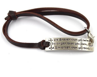 Braver than you Believe, inspirational bracelet