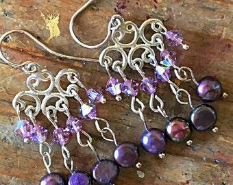 Amethyst Pearl Swarovski Chandelier Earrings Violet Lilac Lavender Sterling Silver Arabesque Ethnic Indian Swarovski Boho Chic Spring Bridal