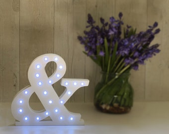Light up ampersand marqee letters Large 8inch freestanding ampersand Wedding reception decoration Wedding photo shoot prop Large letters