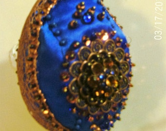 Hand Beaded Handmade Royal Blue and Copper Christmas Ornament Gift