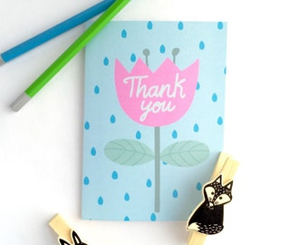 Thank you card. A6 thank you card. Black card. Flower greeting card