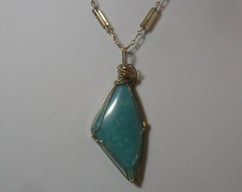 Sterling Silver Wire Wrapped Aventurine Necklace and Earring Set