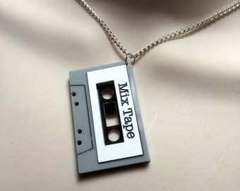 CASSETTE 'MIX TAPE'...Laser cut Acrylic necklace