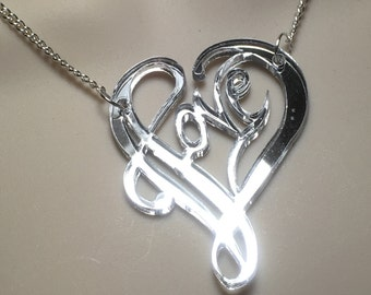 "Laser cut mirror Acrylic ""LOVE"" necklace"
