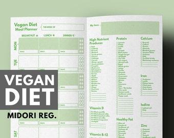 Weight Loss Planner Vegan Diet Meal & Grocery List for Vegan Diet Printable, Midori Refill, Meal Planner Midori, Midori Traveller's Notebook