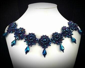 Woven Necklace / Renaissance Necklace / Tudor Jewelry / Royal Blue Necklace / Blue Necklace / Medieval Necklace / Renaissance Jewelry