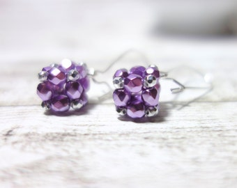 Earrings cubes square fire polished glass beads purple