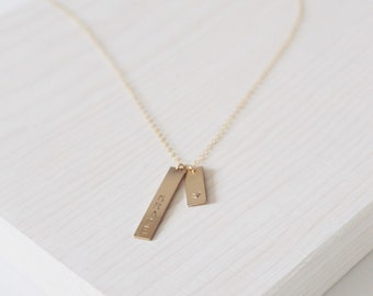 The Rika Necklace   14k Double Bars Necklace   Personalized Jewelry