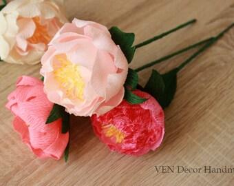 6 Wedding Paper Peonies, Wedding Peonies Centerpieces, Paper Anniversary Paper Centerpieces, Paper Peony Flower Bouquet, Paper Flower Decor