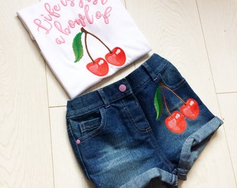 Life is just a bowl of cherries embroidered retro cherrry design children's T shirt and denim shorts set