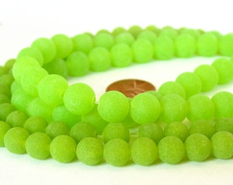 "15"" JADE 8mm 10mm frosted Lime Green round Beads matte etched gemstone - full strand - PICK SIZE"