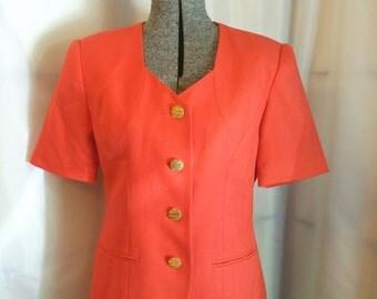 Vintage suit 80s Orange Skirt Suit Coral blazer skirt suit Kasper for ASL Size 4 petite