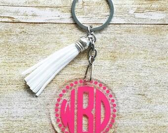 Monogram keychain, monogram gift, monogram keychain with tassel, tassel keychain, circle monogram, monogram, gift for her, birthday gift