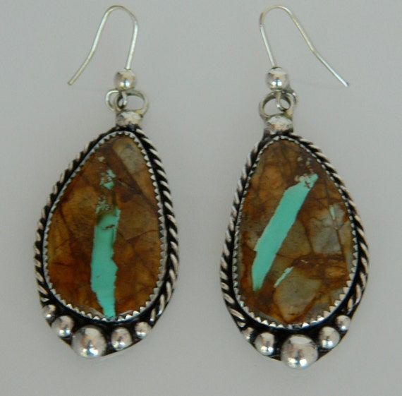 Native american cherokee royston ribbon boulder turquoise long for Royston ribbon turquoise jewelry