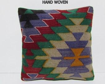 orange kilim pillow blue pillow decorative throw pillow turkish fabric hippie textile sofa throw pillow kilim floor cushion retro rug D981