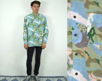 90's vintage men's blue-green printed shirt