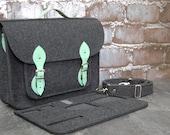 NEW lower price - 30%!!! Felt Laptop bag 15 inch with pocket, satchel, Macbook Pro 15 in,Custom size Laptop bag, case, mint leather straps
