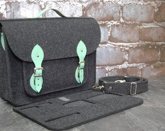 Felt Laptop bag 15 inch with pocket, satchel, Macbook Pro 15 in,Custom size Laptop bag, case, mint leather straps