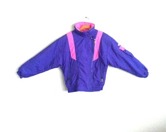 Vintage 80s Ski Jacket Rad Neon Colorblock Women's Size 8
