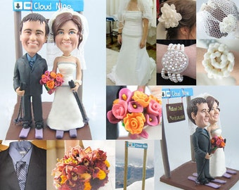 Skiing theme - Personalised wedding cake topper  (Free shipping)