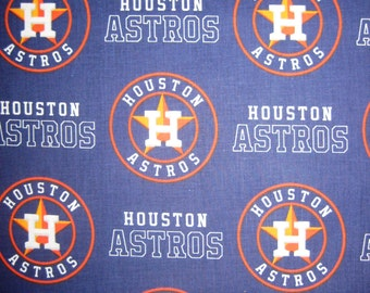 Houston Astros Navy & Orange 6682B MLB Logo Cotton Fabric by Fabric Traditions! [Choose Your Cut Size]