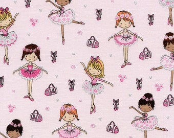 Ballerinas, Ballet Shoes, and Dancing Cotton Fabric! [Choose Your Cut Size]