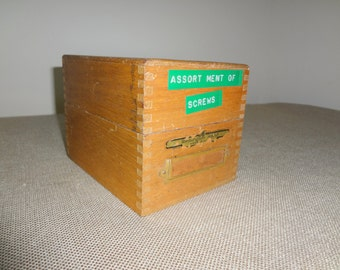 Vintage Oak Library File Box - Small Remington Rand Card File Box with Lid and Original Finish