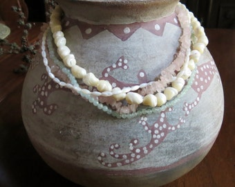 Gorgeous Multi-Strand Beaded Necklace Rose Quartz, Mother of Pearl and Jadeite