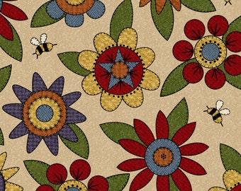 Maywood tan, folksy, floral flannel.