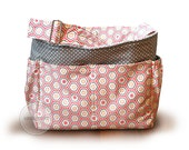 Ready to ship  /  Coral and grey honeycomb geometric diaper bag tote bag