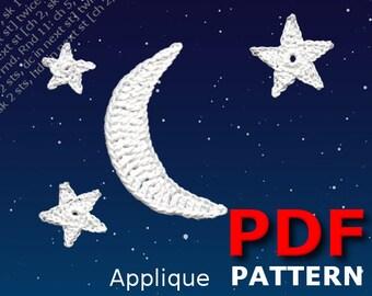 Crochet | Crochet pattern | Applique pattern | Crochet MOON & STARS