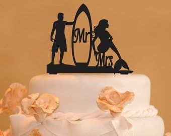 Surfer And Mermaid Wedding Cake Topper