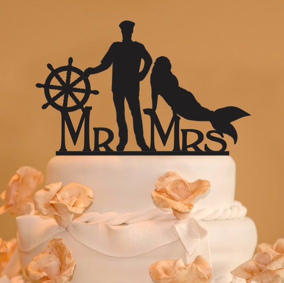 sailor and mermaid wedding cake topper ship captain and mermaid wedding cake topper mr and mrs 19618