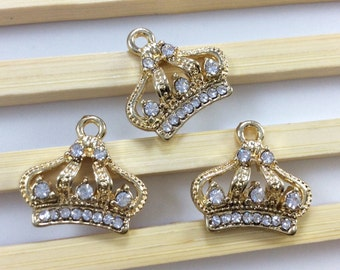 5 pcs gold  plating  Rhinestone  Crown Pendants   Crown Charms   Crown Jewelry