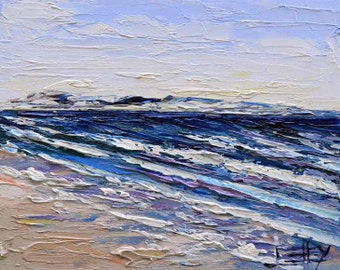 Beach Art, Pacific Ocean, Beach Decor, Landscape Painting, Coastal Art, California Landscape, Coastal Decor, 8x10, California, Seascape Art