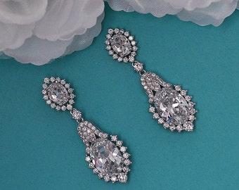 SALE - Dangle Bridal Earrings CZ Swarovski Crystal Chandelier Earrings Vintage Cubic Zirconia Bridal Wedding Jewelry Prom Drop Earrings 048