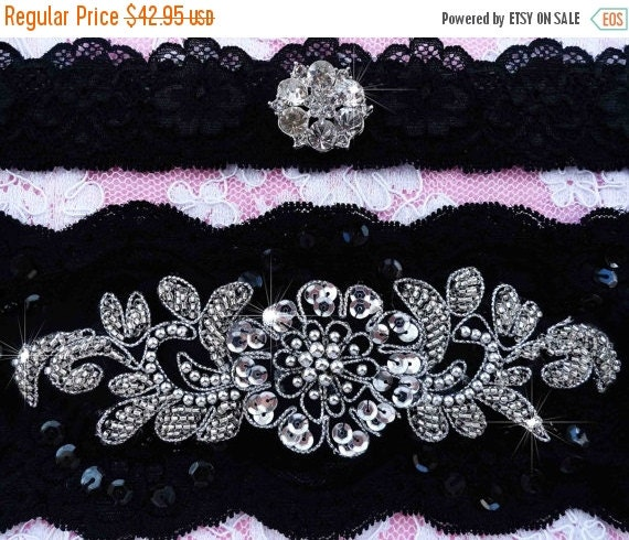 SALE Gorgeous Black Wedding Bridal Garter By EleganceByKate