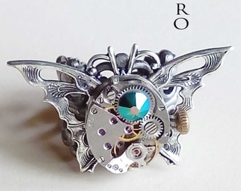 10% off sale17 The Butterfly Effect Steampunk Ring- Vintage ring  -  Butterfly ring - Steampunk ring - Watch mechanism ring -
