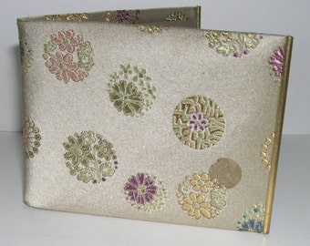 Wallet Gold Silk Brocade and Leather 1950's