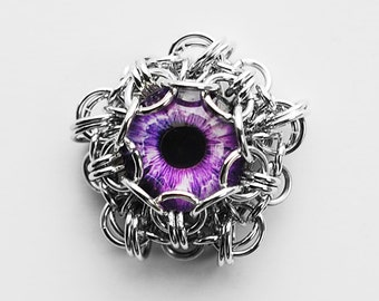 Handmade glass eye cabochon pendant - Purple eye - jewelry supplies